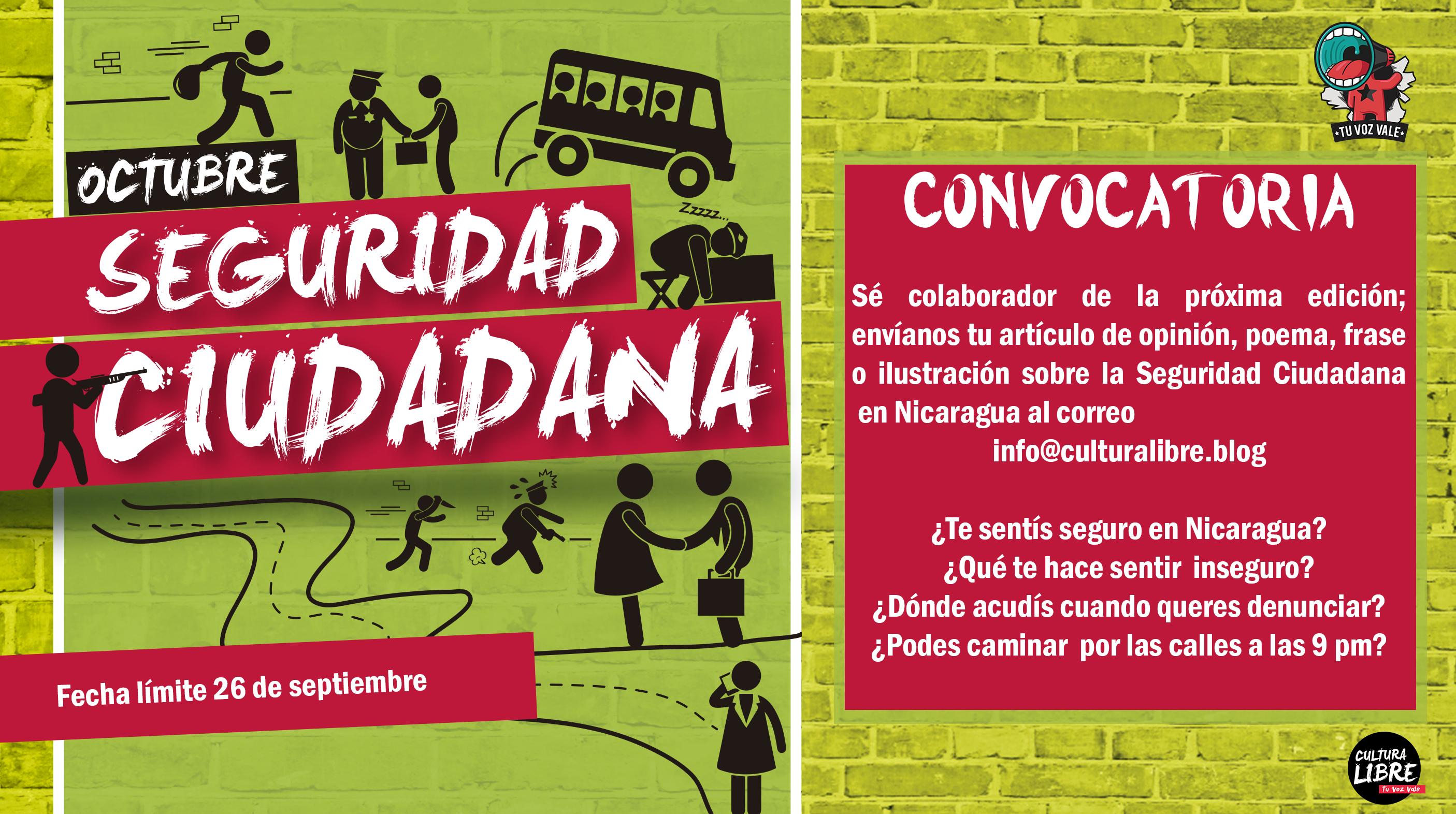 Convocatoria Octubre Revista Cultura Libre